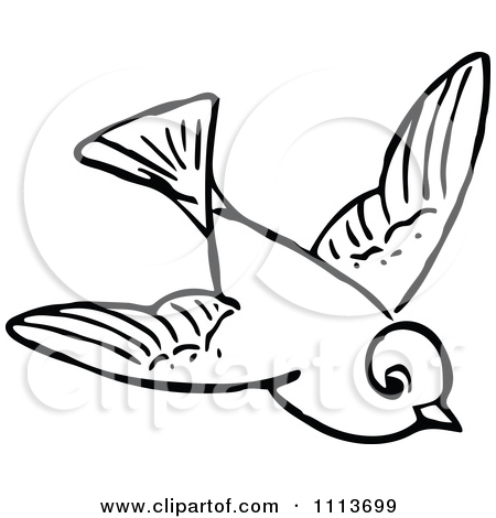 Flying bird clipart black and white.