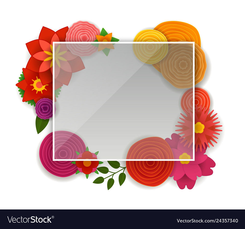 Blank white frame with color flowers template.