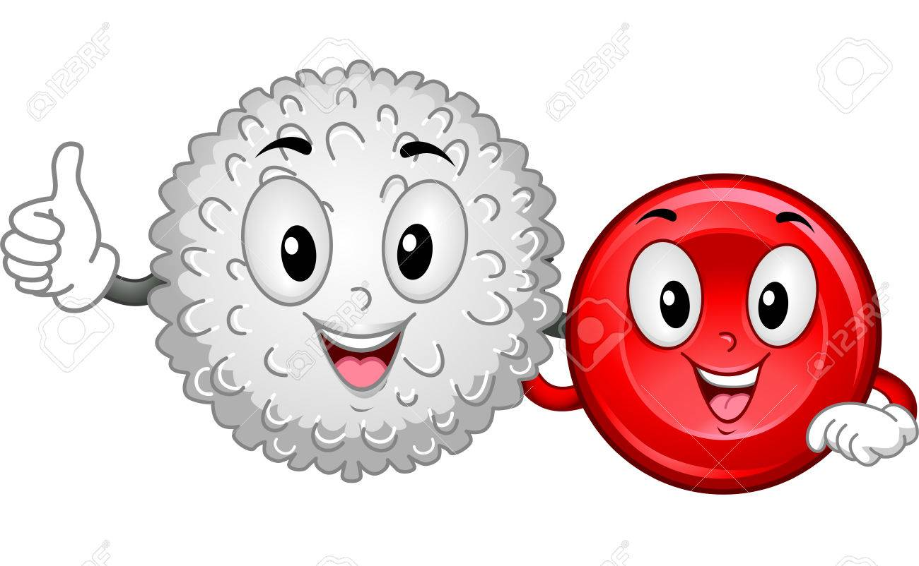 Mascot Illustration Featuring A White Blood Cell And A Red Blood.