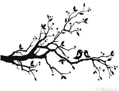 black and white flowering tree sketch.