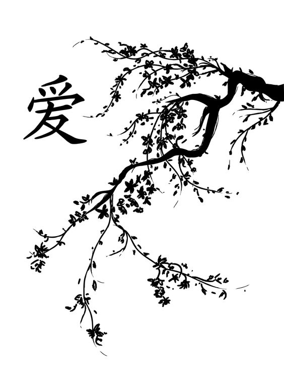 Cherry blossom tree clipart black and white.