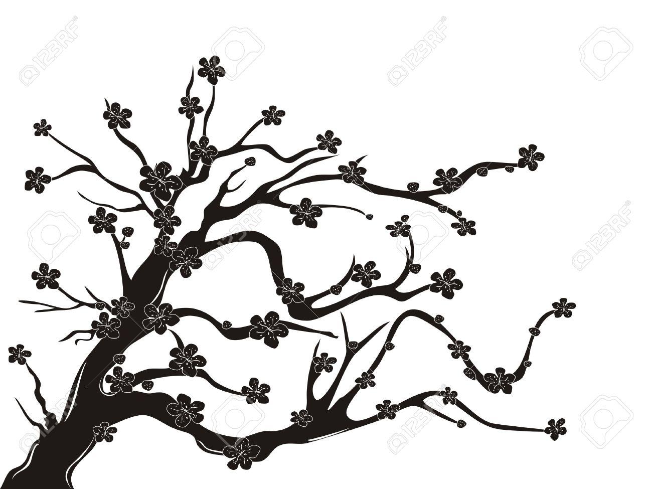 Cherry blossom clipart black and white.
