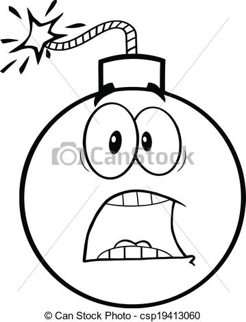 Clip Art Vector of Black and White Scared Bomb Cartoon Character.