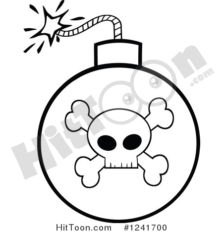 Bomb Clipart #1241700: Black and White Lit Skull and Crossbones.