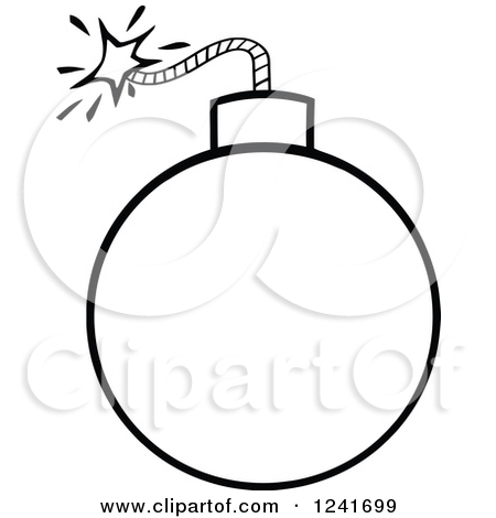 Clipart of a Black and White Lit Bomb.
