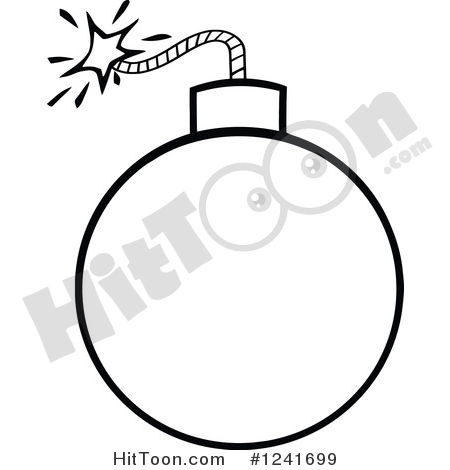 Bomb Clipart #1241699: Black and White Lit Bomb by Hit Toon.