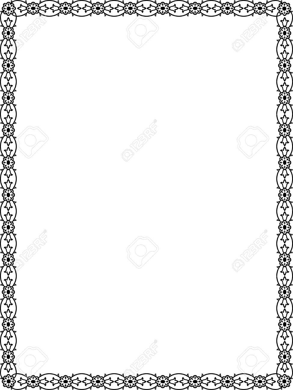 Flowers and plant leaves border frame, Black and White.
