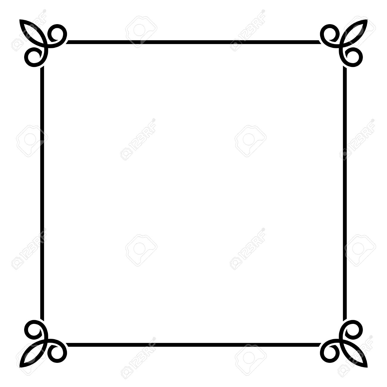 Black Border Vintage Frame on White Background. Vector illustration.