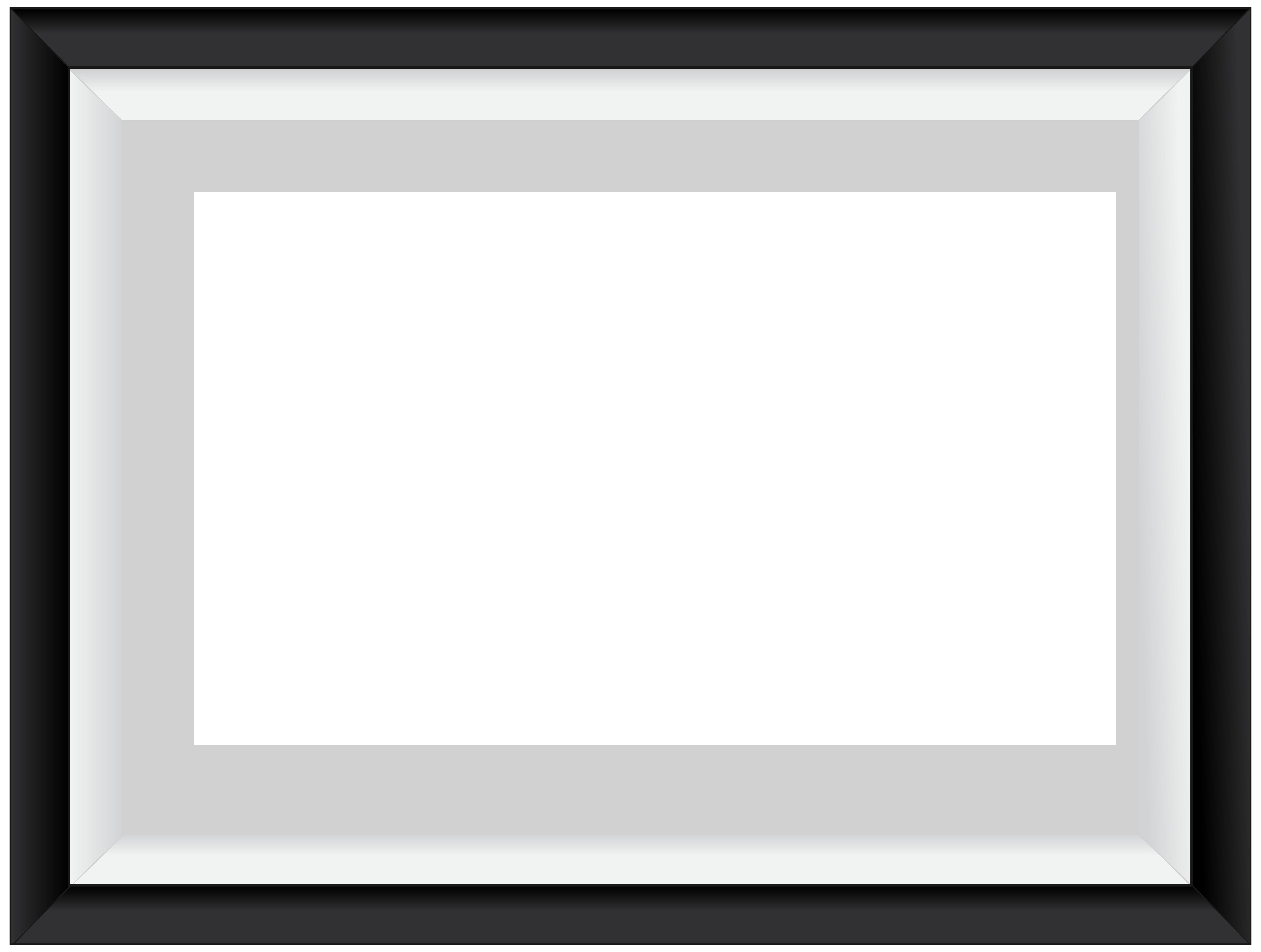 Black White Border Frame Transparent PNG Image.