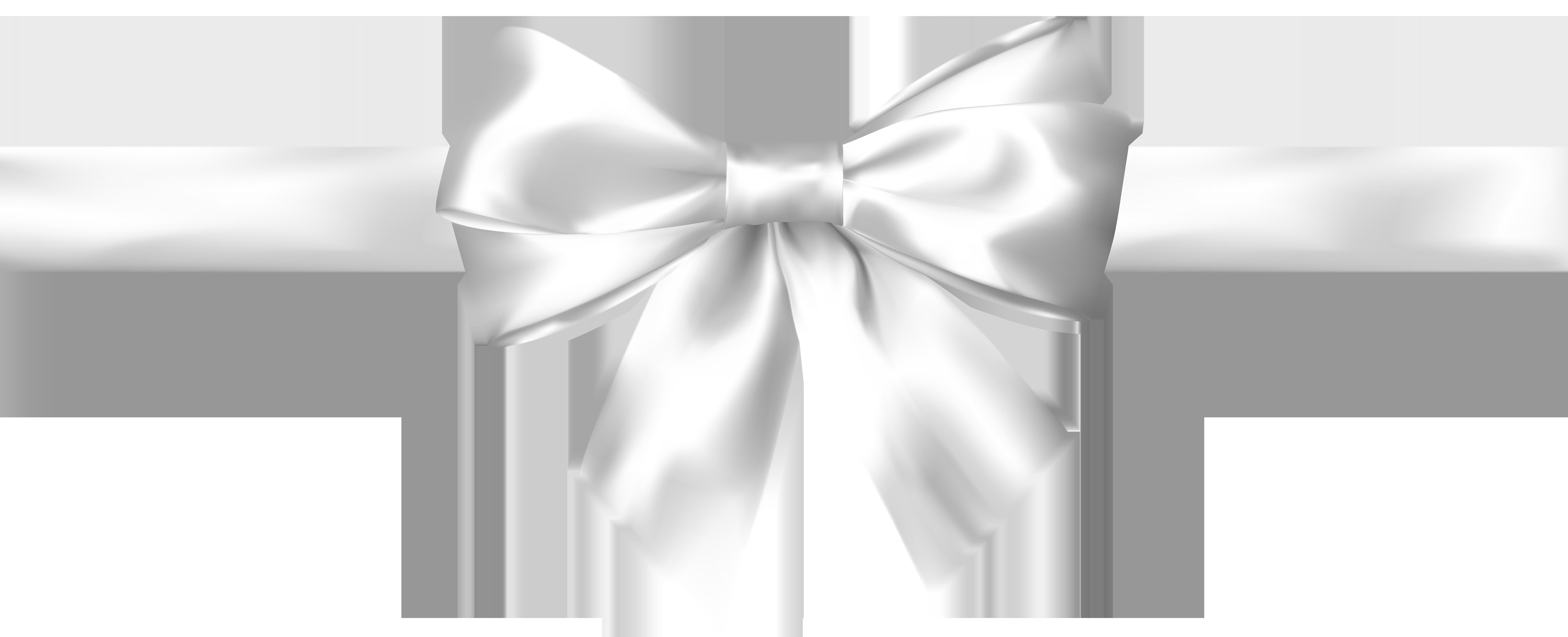 White Bow Transparent PNG Clip Art Image.
