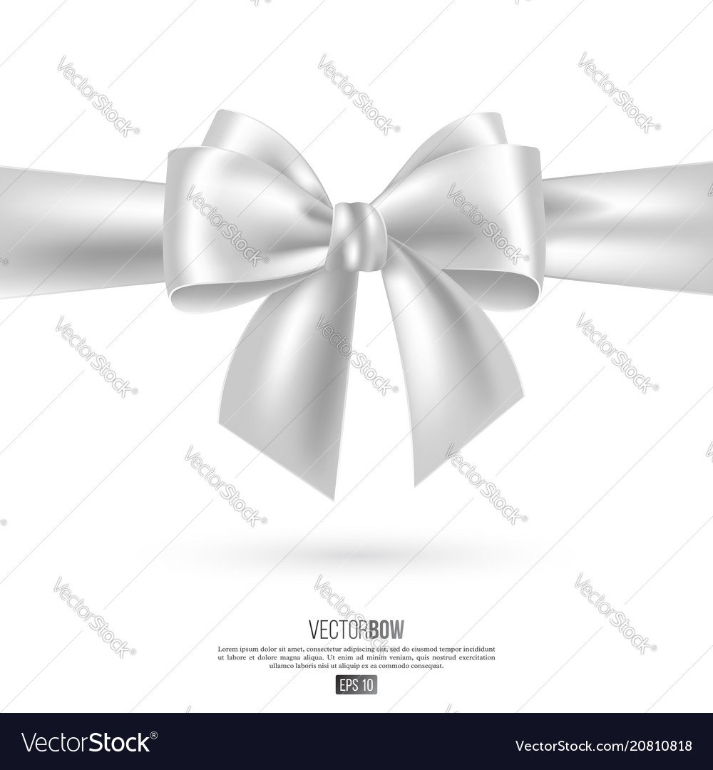 Realistic white bow and ribbon.