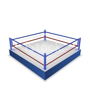 Boxing ring isolated on white background Clipart Image.