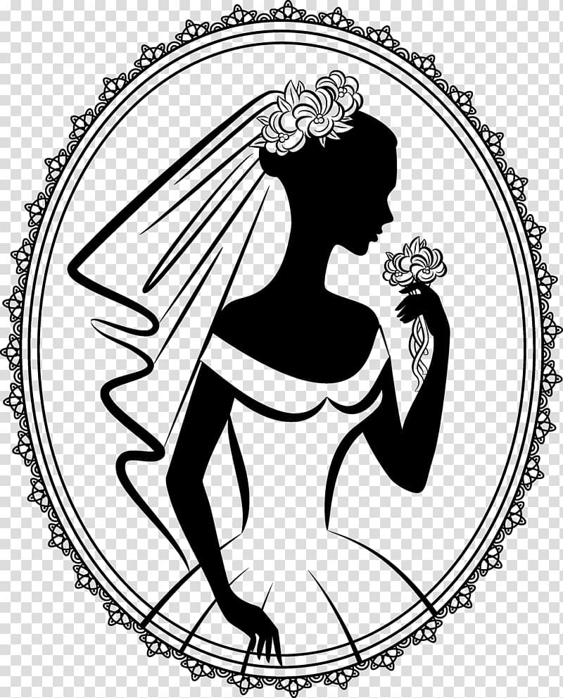 Wedding invitation Bride Silhouette Drawing, bride.