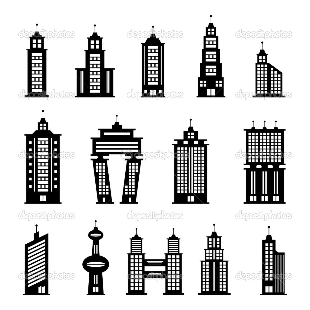 Building Black And White Clipart.