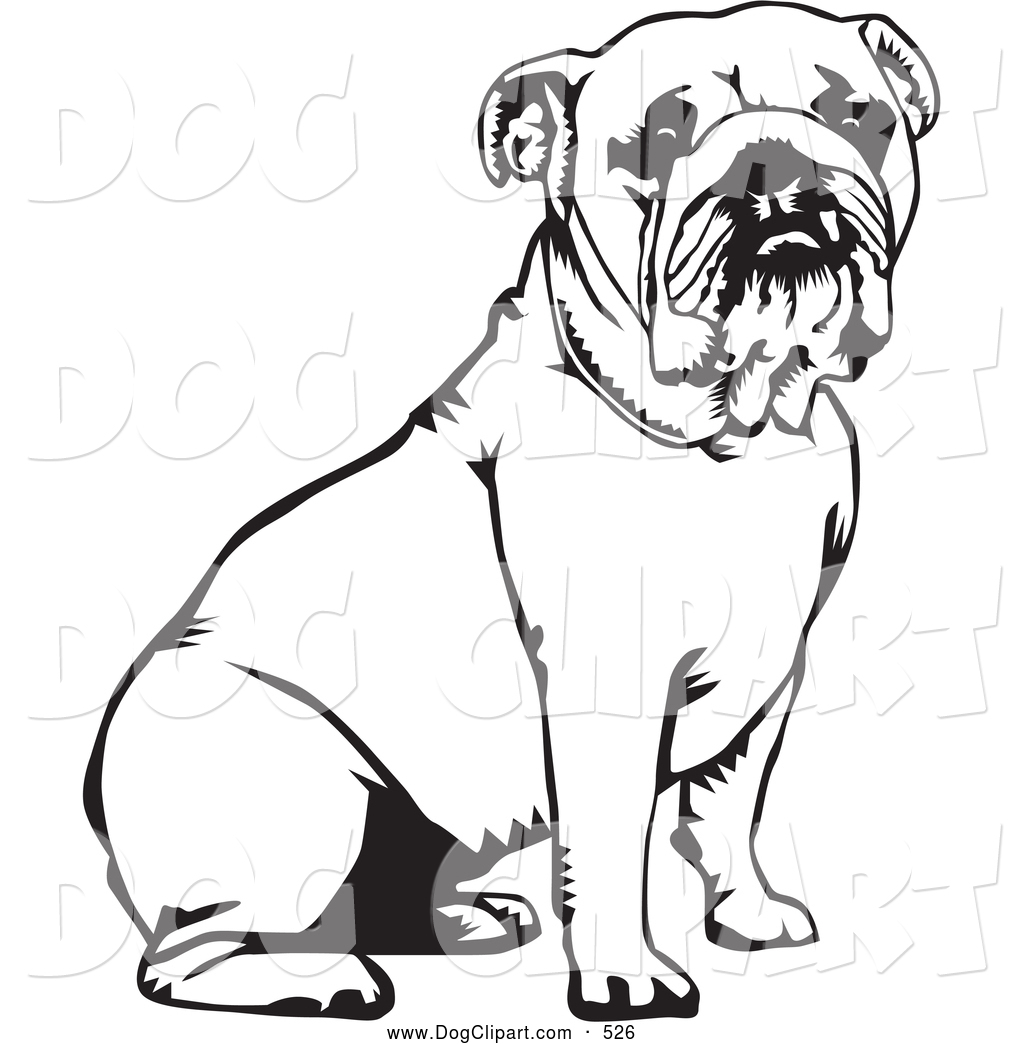 Bulldog Clipart Black and White.