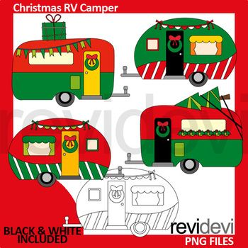 Christmas clipart red green / Christmas RV camper clip art.