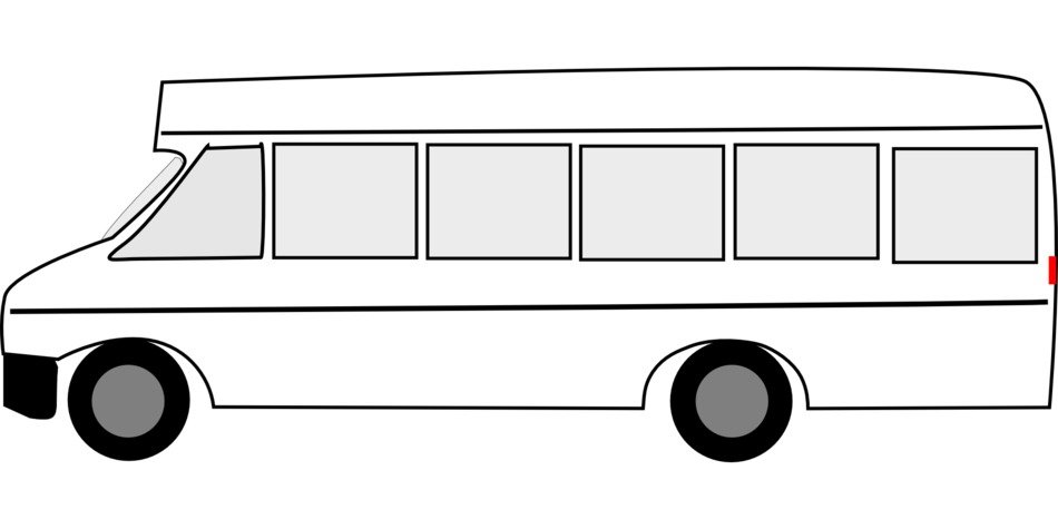 Black and white bus clipart free image.