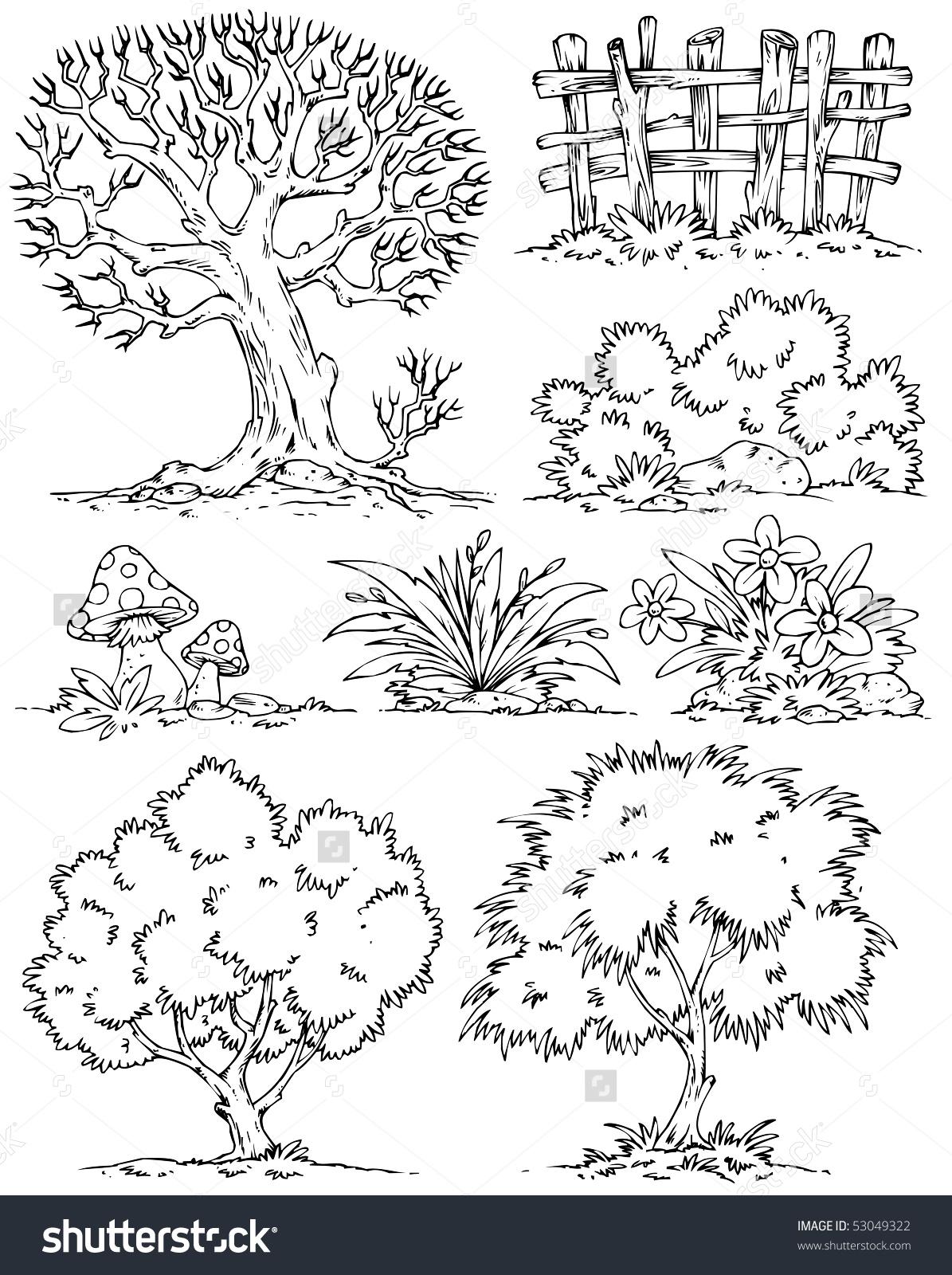 Bush tree clipart black and white.