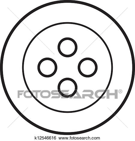 White sewing button Clip Art.