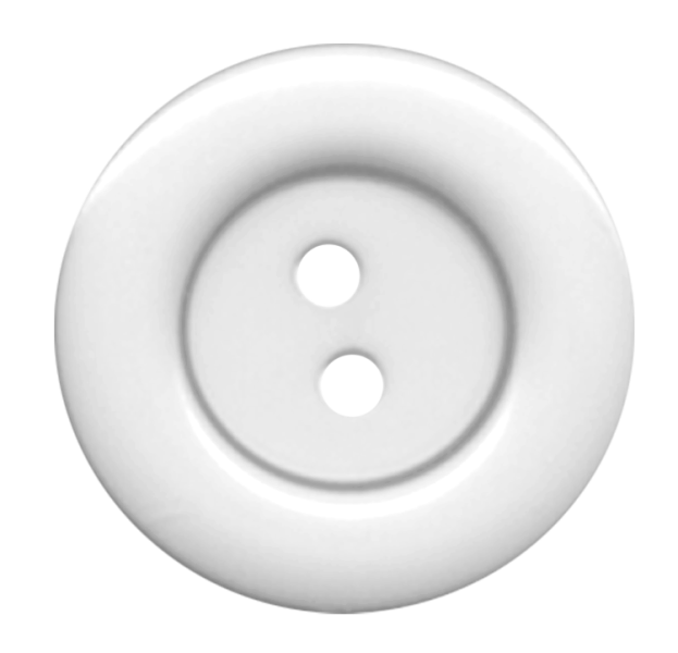White Cloth Button With 2 Hole PNG Image.