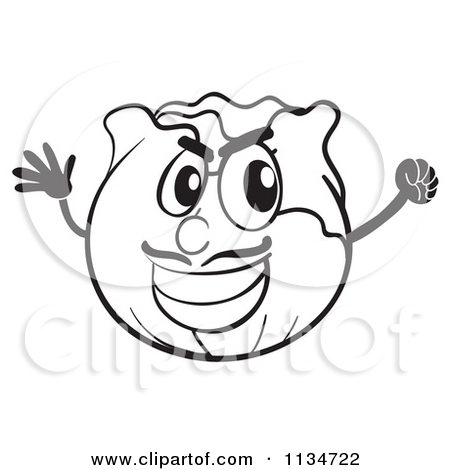 Cartoon Of A Black And White Cheering Cabbage.