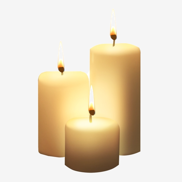 Three White Candles Png, Three Candles, White, White Candle PNG.