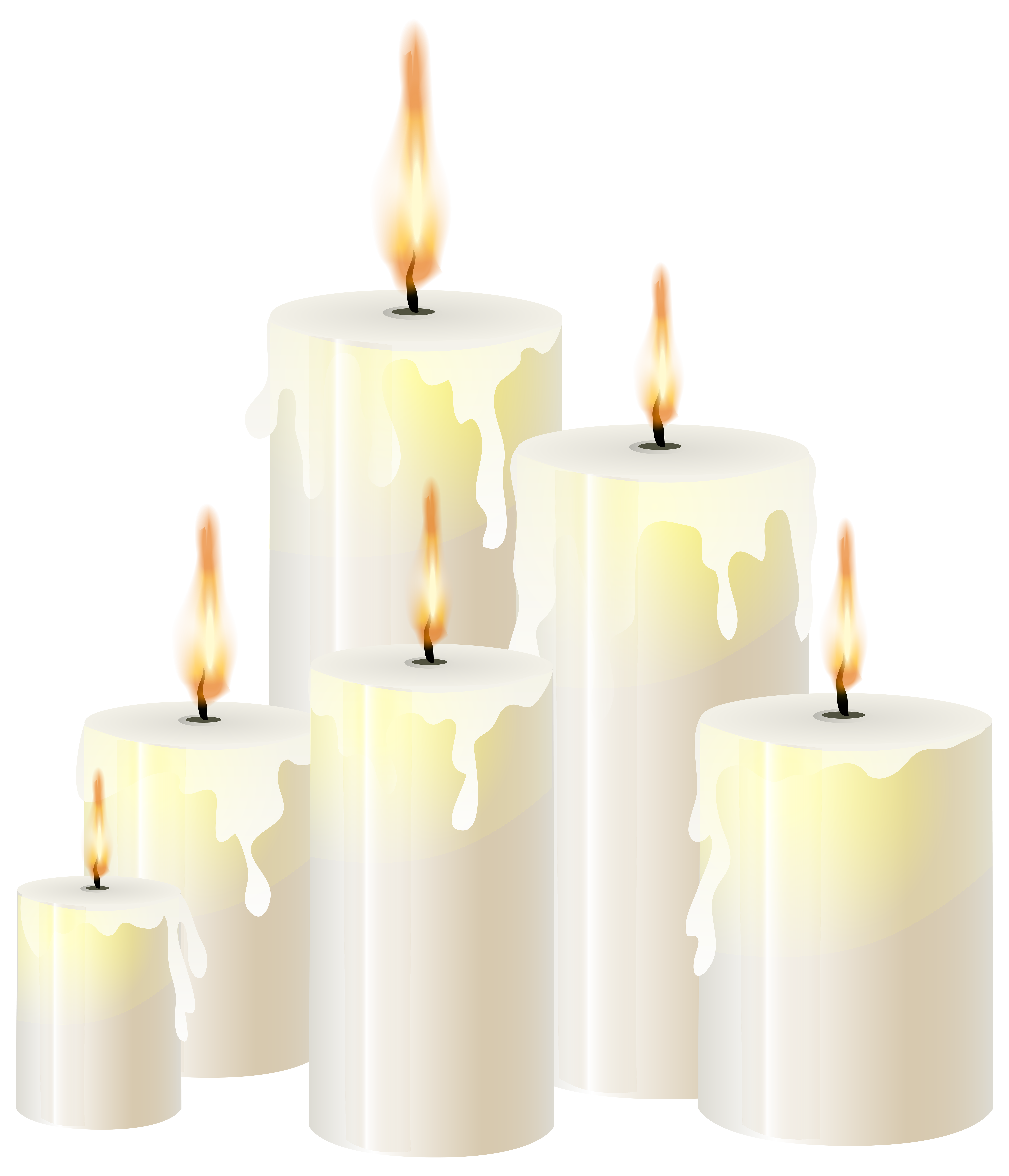 White Candles PNG Clip Art.
