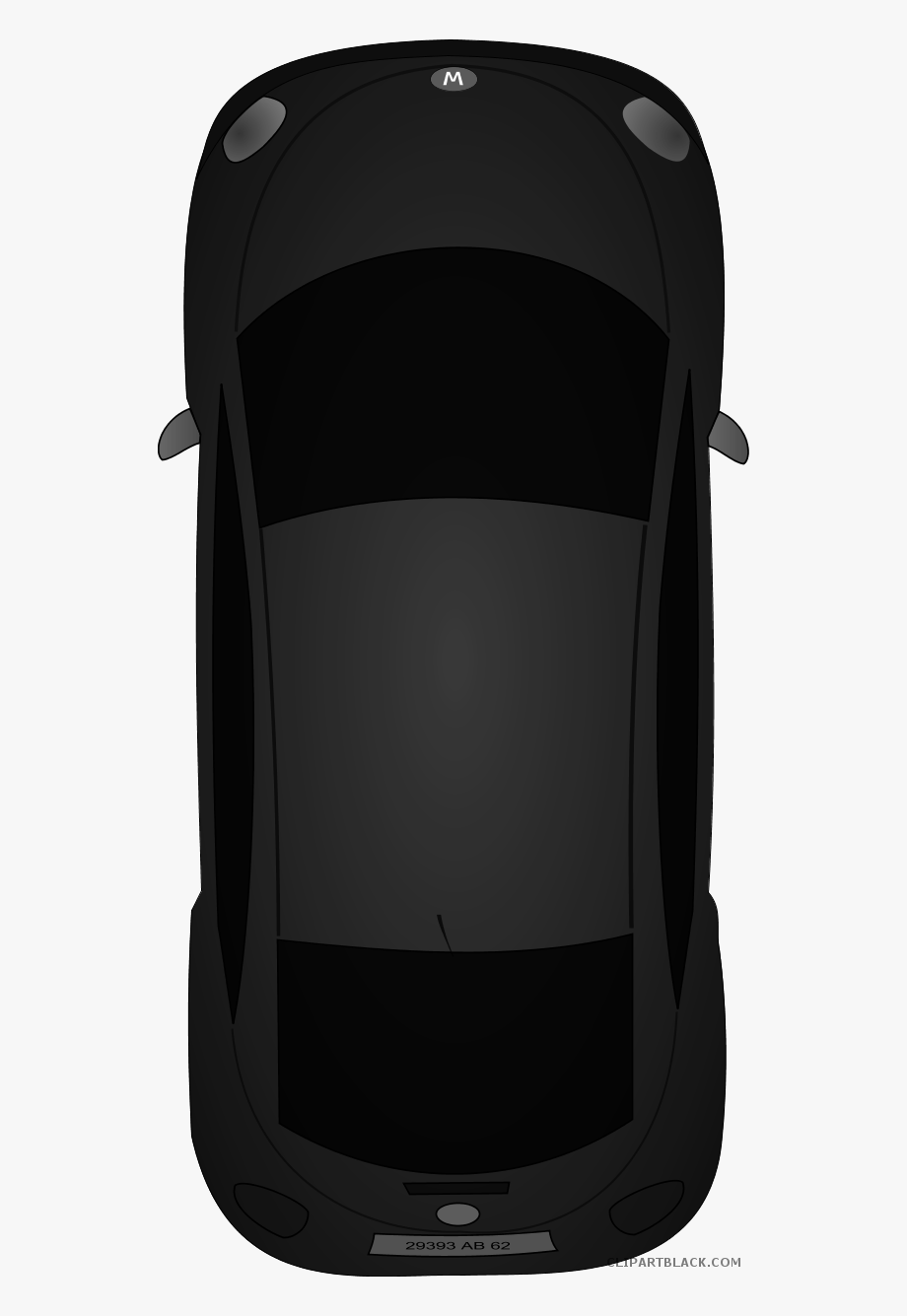 Car Top View Transportation Free Black White Clipart.