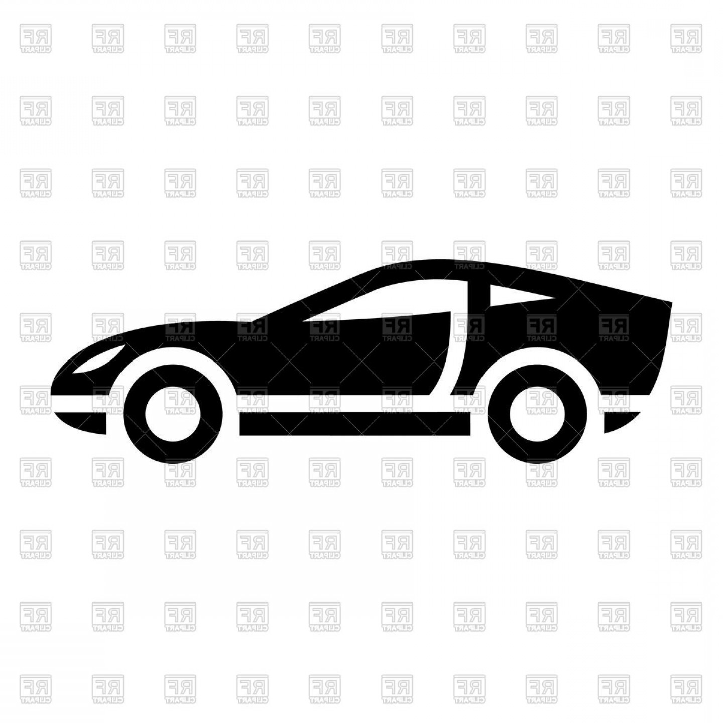 Black Icon Of Sport Car On White Background Vector Clipart.