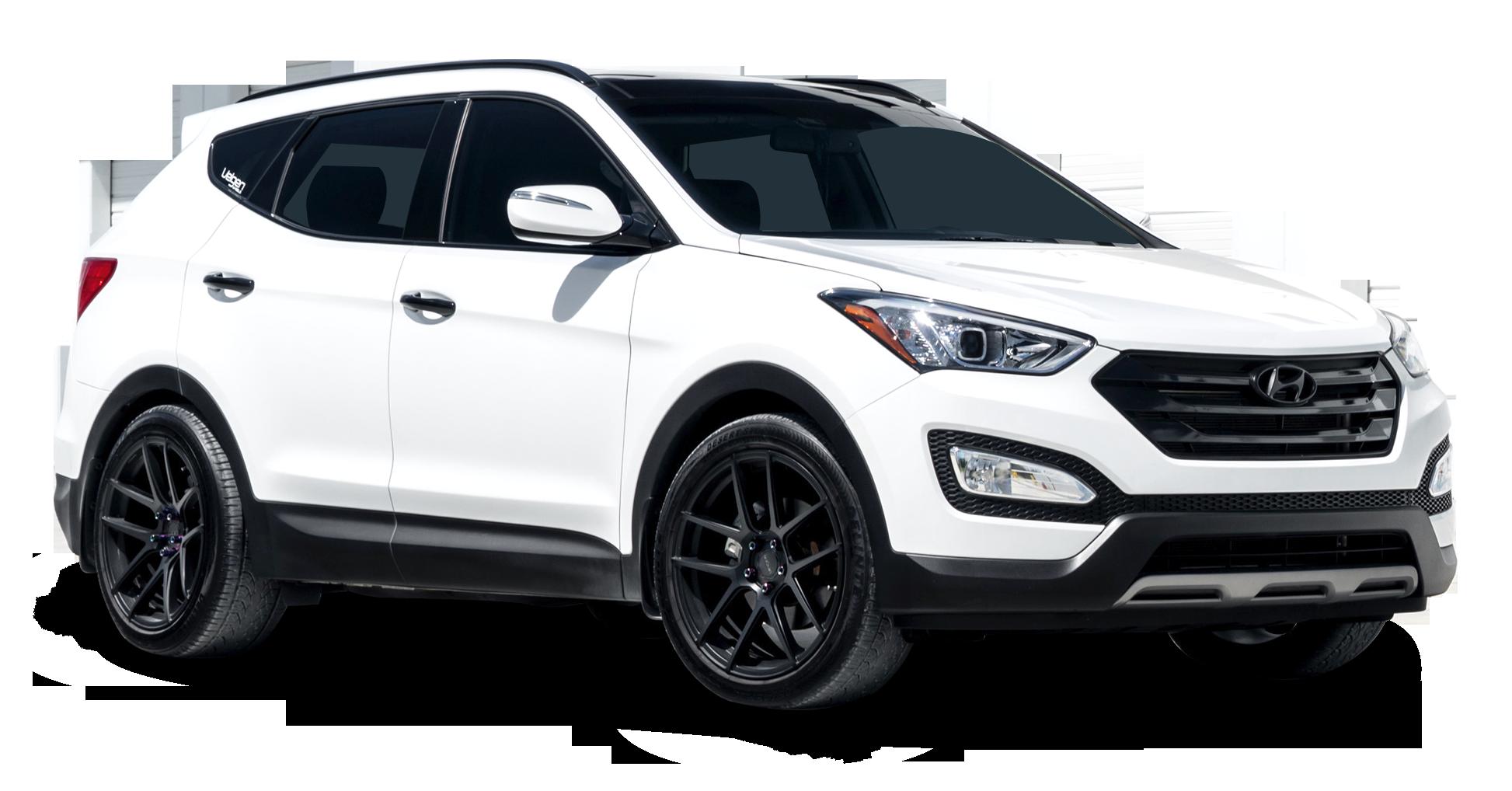 Hyundai Santa Fe White Car PNG Image.