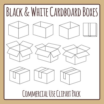 Black and White Cardboard Boxes or Cartons Clip Art Pack for Commercial Use.