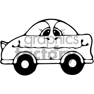 black and white cartoon car clipart. Royalty.