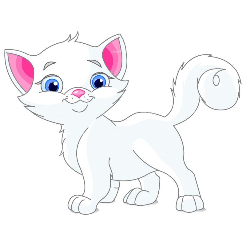 CLIPART CUTE WHITE CAT.