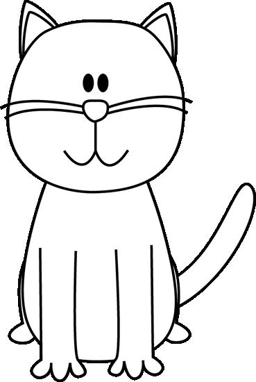 Black and White Cat Clip Art.