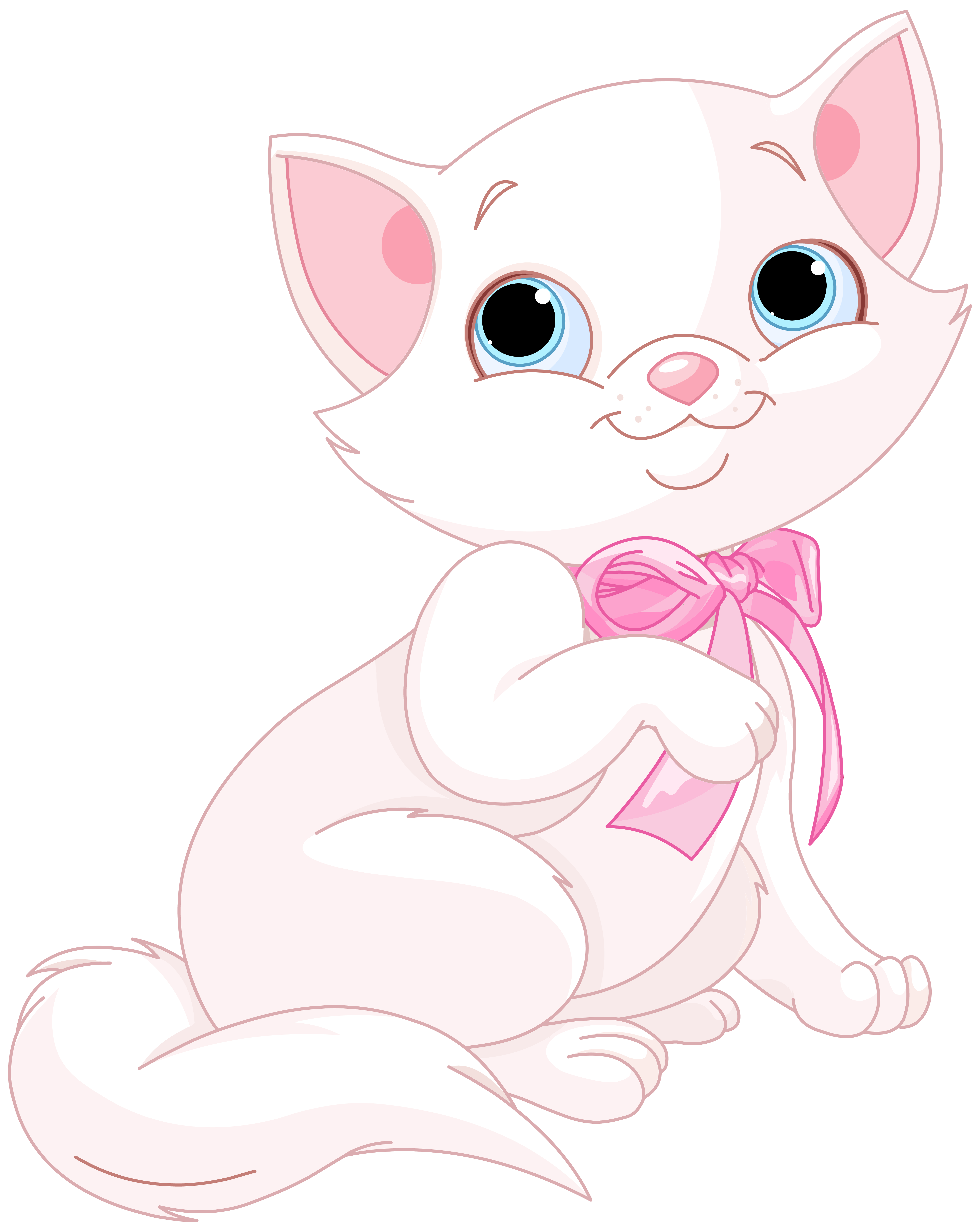 Cute Pink and White Cat PNG Clipart Image.