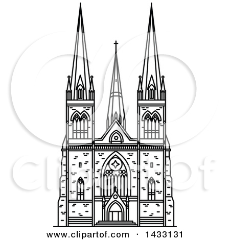 Clipart of a Black and White Line Drawing Styled Australian.