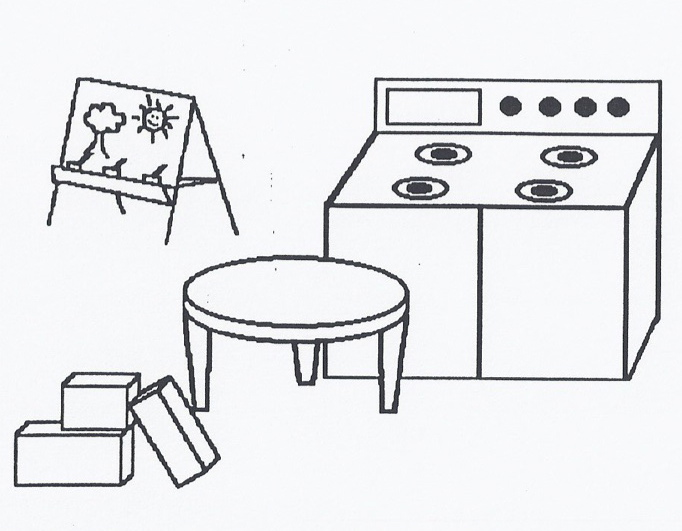 Preschool House Keeping Center Clipart Black And White.