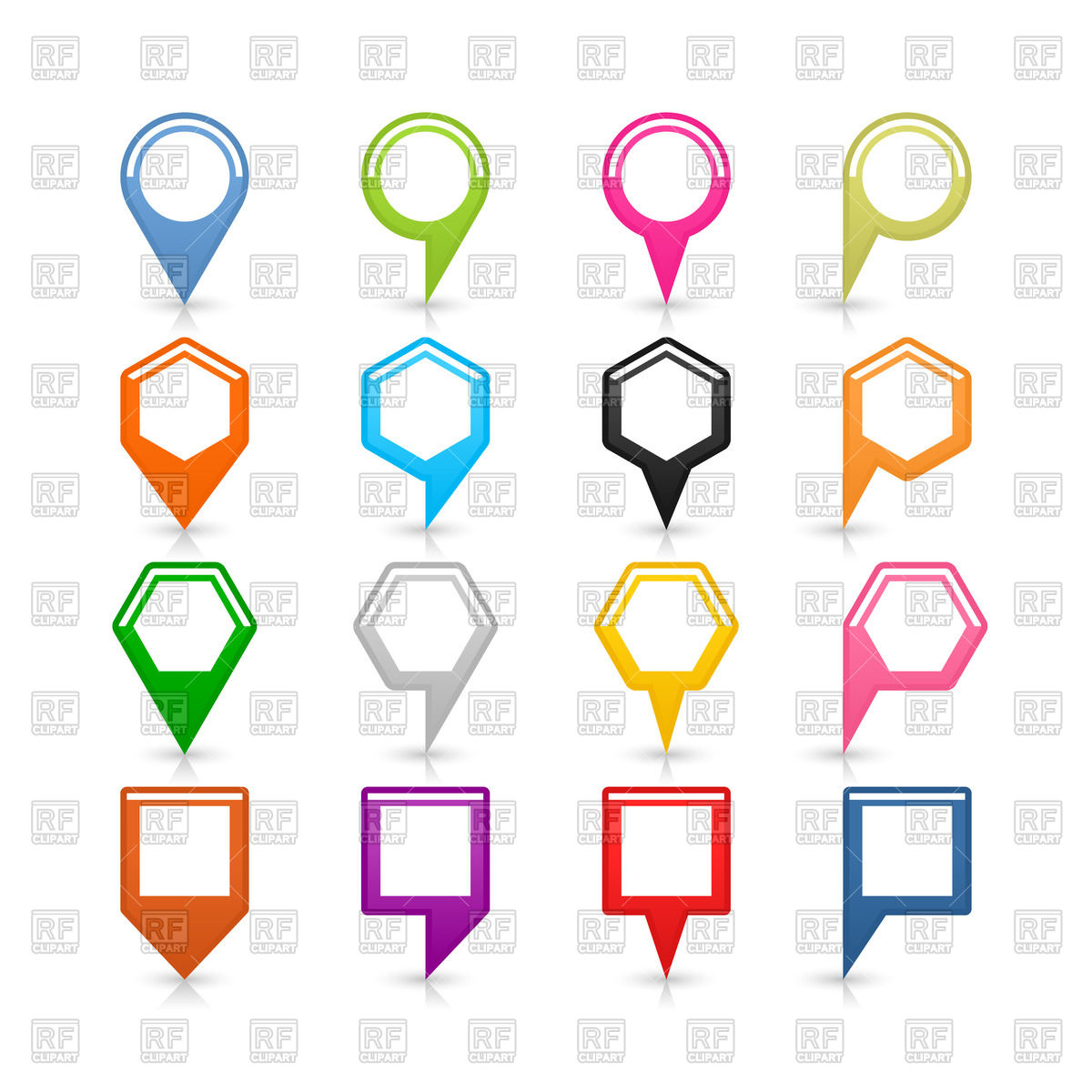 Colorful map pins of different shapes with white centres Vector.