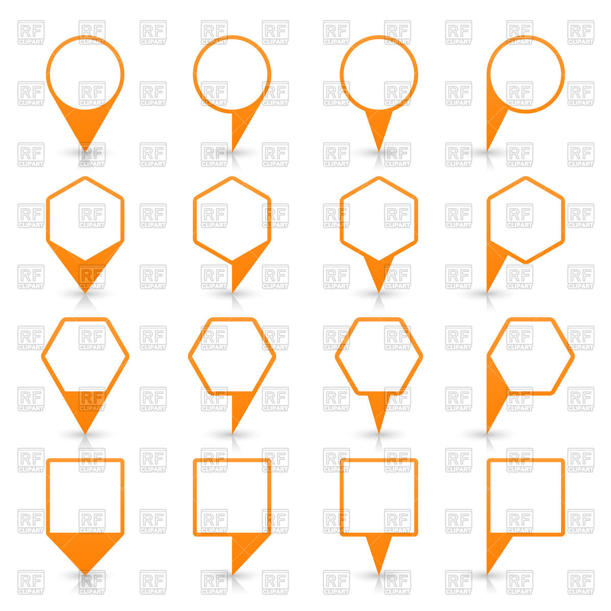 Set of orange map markers with white centres Vector Image #50470.