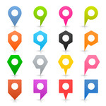 Colorful map markers of different shapes with white centres Vector.
