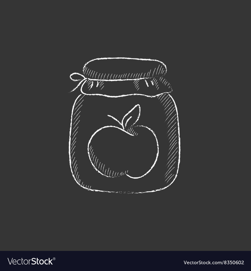 Apple jam jar Drawn in chalk icon.
