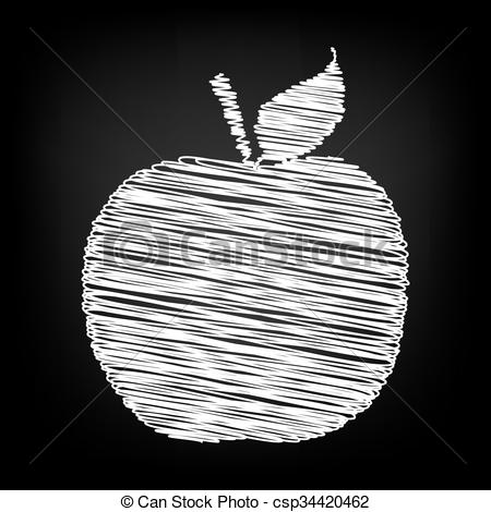 Chalk Apple Clipart.