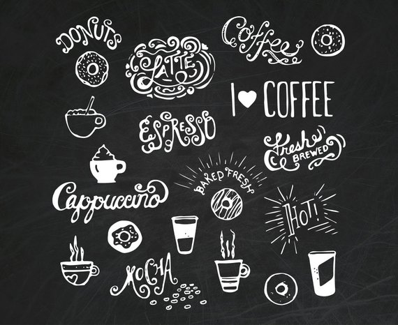 21 Hand Drawn Doodle Coffee and Donuts Clipart Illustrations.