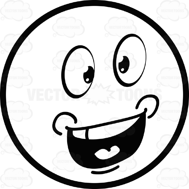 Talking Large Eyed Black And White Smiley Face Emoticon With.