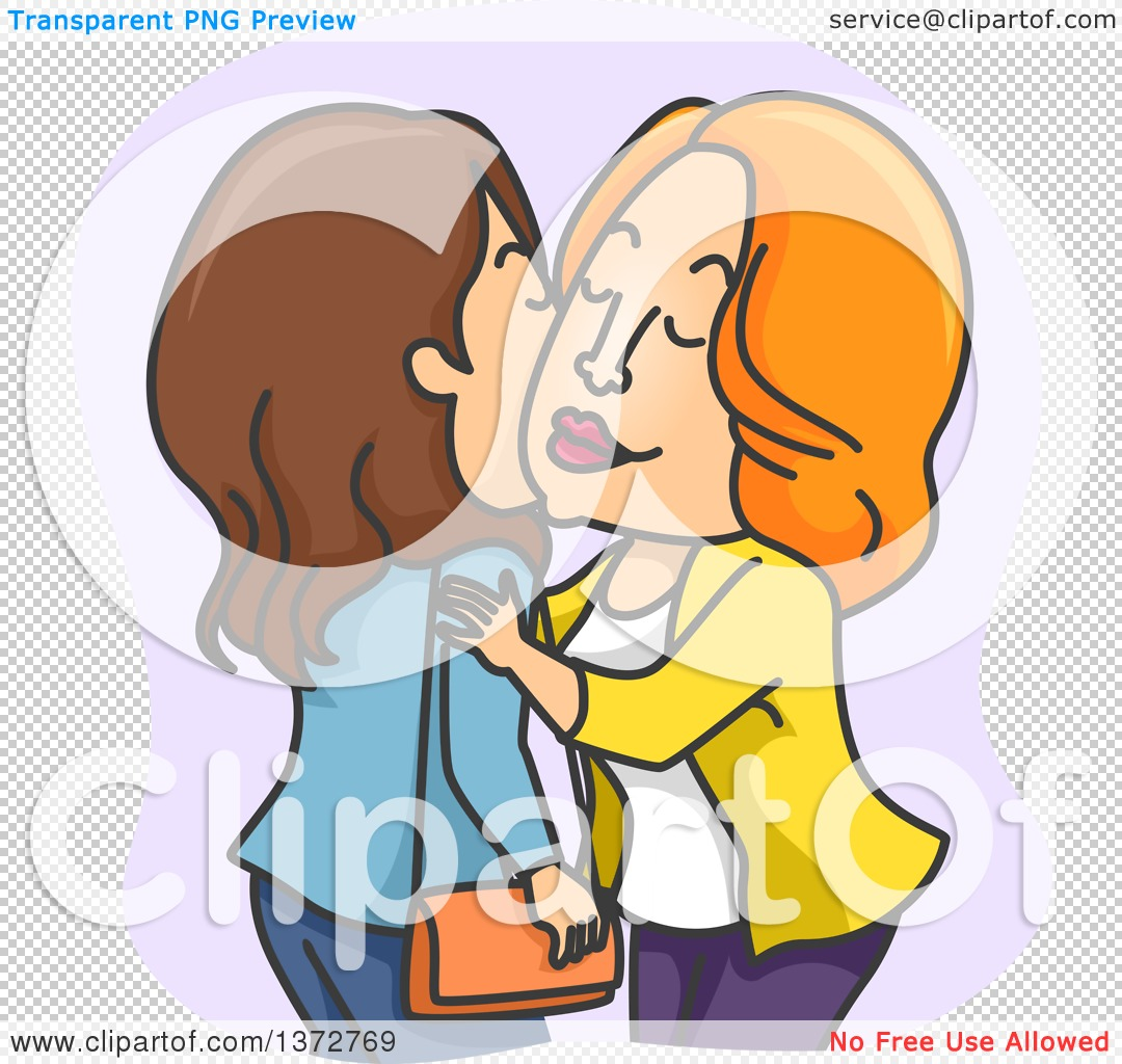 Clipart of White Women Kissing Cheeks.