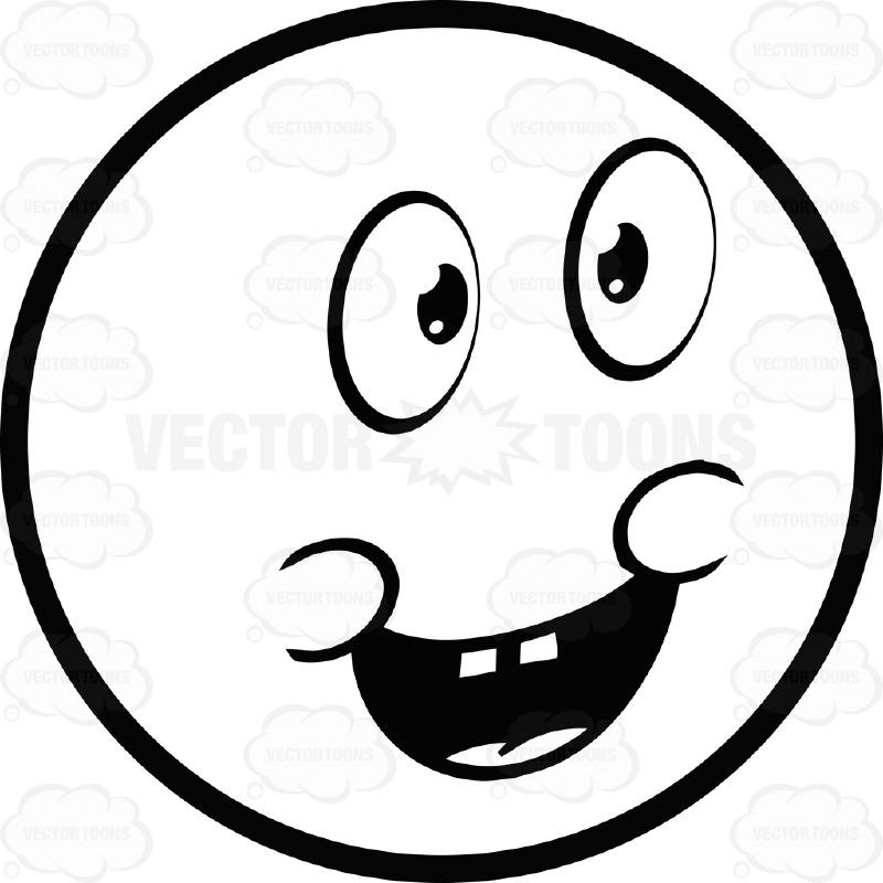 Joyful Large Eyed Black And White Smiley Face Emoticon Chubby.