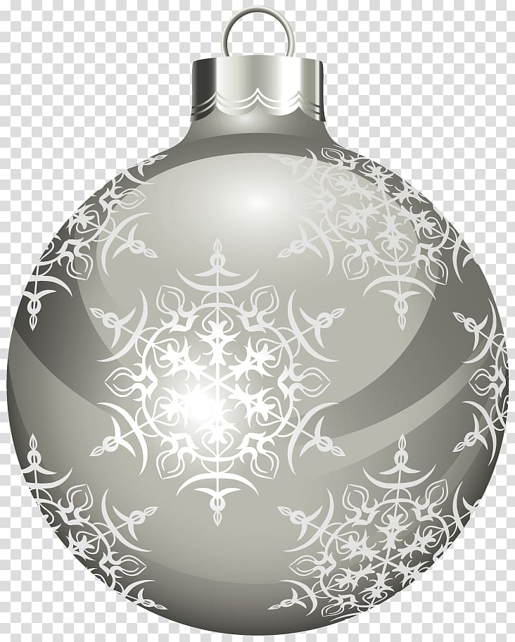 Gray and white bauble illustration, Christmas ornament White.