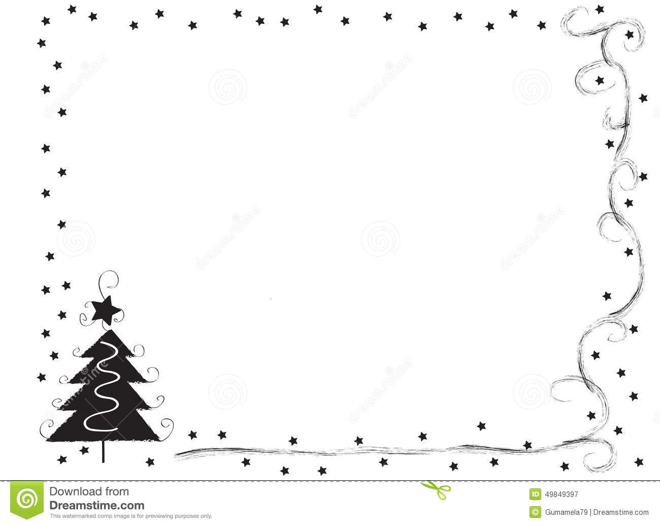 Horizontal Christmas Border Clipart Black And White.