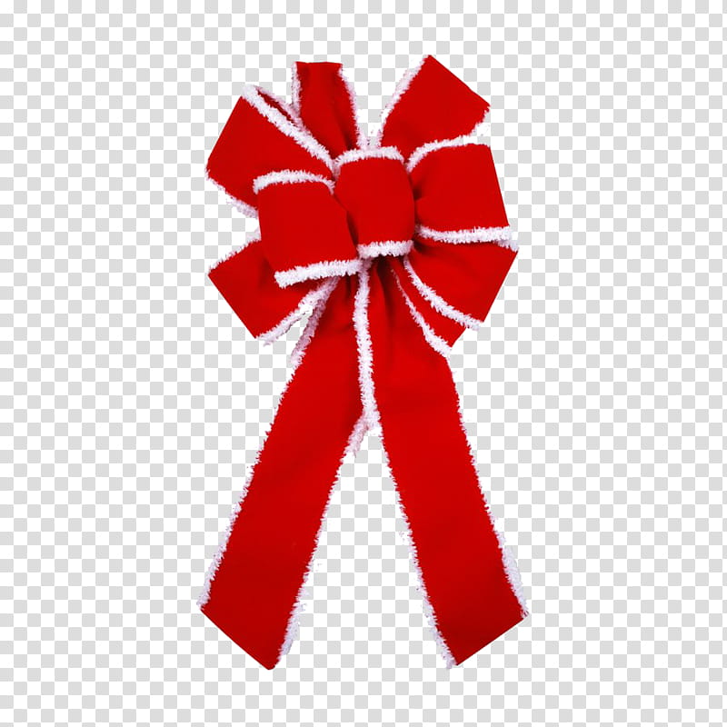 Christmas, red and white Christmas ribbon decor transparent.