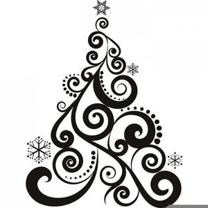 Black And White Christmas Tree Clipart.